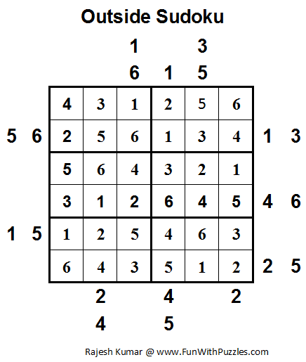 Outside Sudoku (Mini Sudoku Series #13) Solution