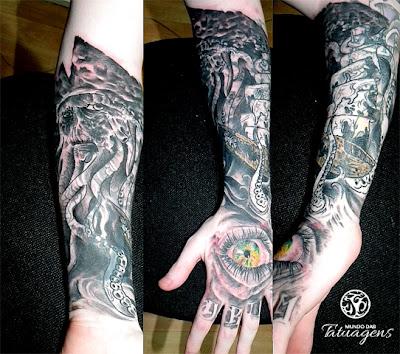 de tatuagens 3d na mão e o personagem do filme Piratas do Caribe no braço