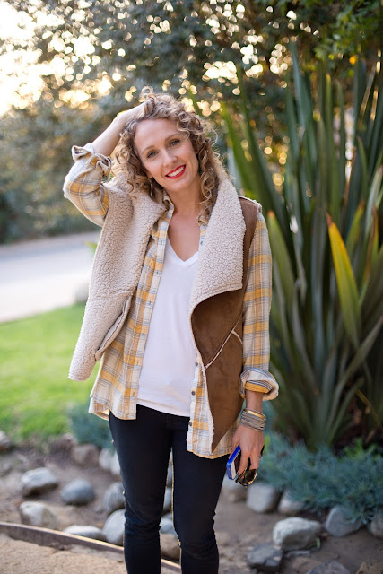 sherpa vest with flannel shirt