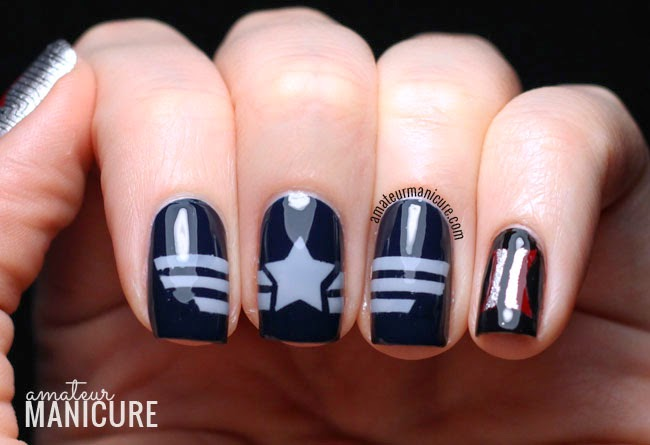 Here S A Shot Where I Attempted To Show How The Stripes On Captain America Nails All Line Up Create Design His Uniform