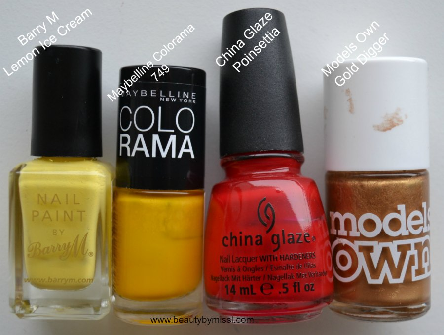 Barry M Lemon Ice Cream, Maybelline Colorama 749, China Glaze Poinsettia, Models Own Gold Digger
