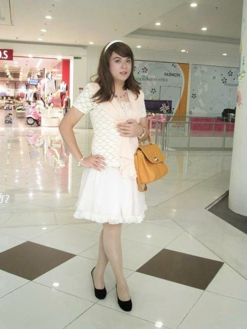 Crossdressing in white Skirt For New Year