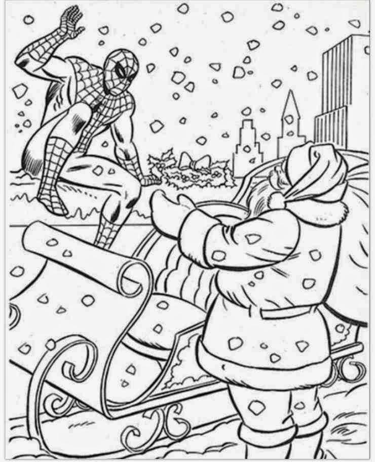 Coloriage Spiderman Noel Imprimer Coloriage En Ligne