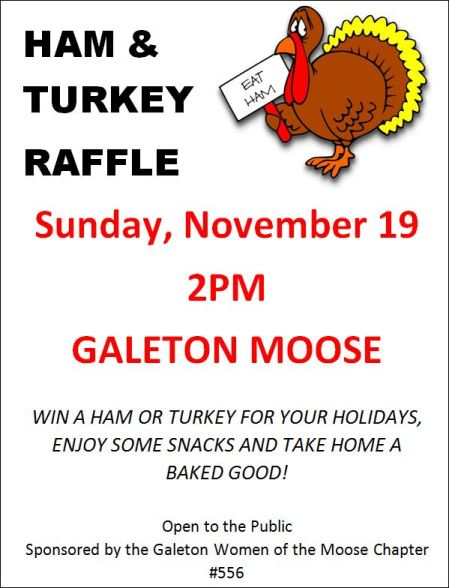 11-19 Galeton Moose Ham & Turkey Raffle