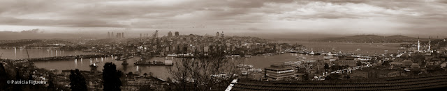 Black and white panorama of the Golden Horn