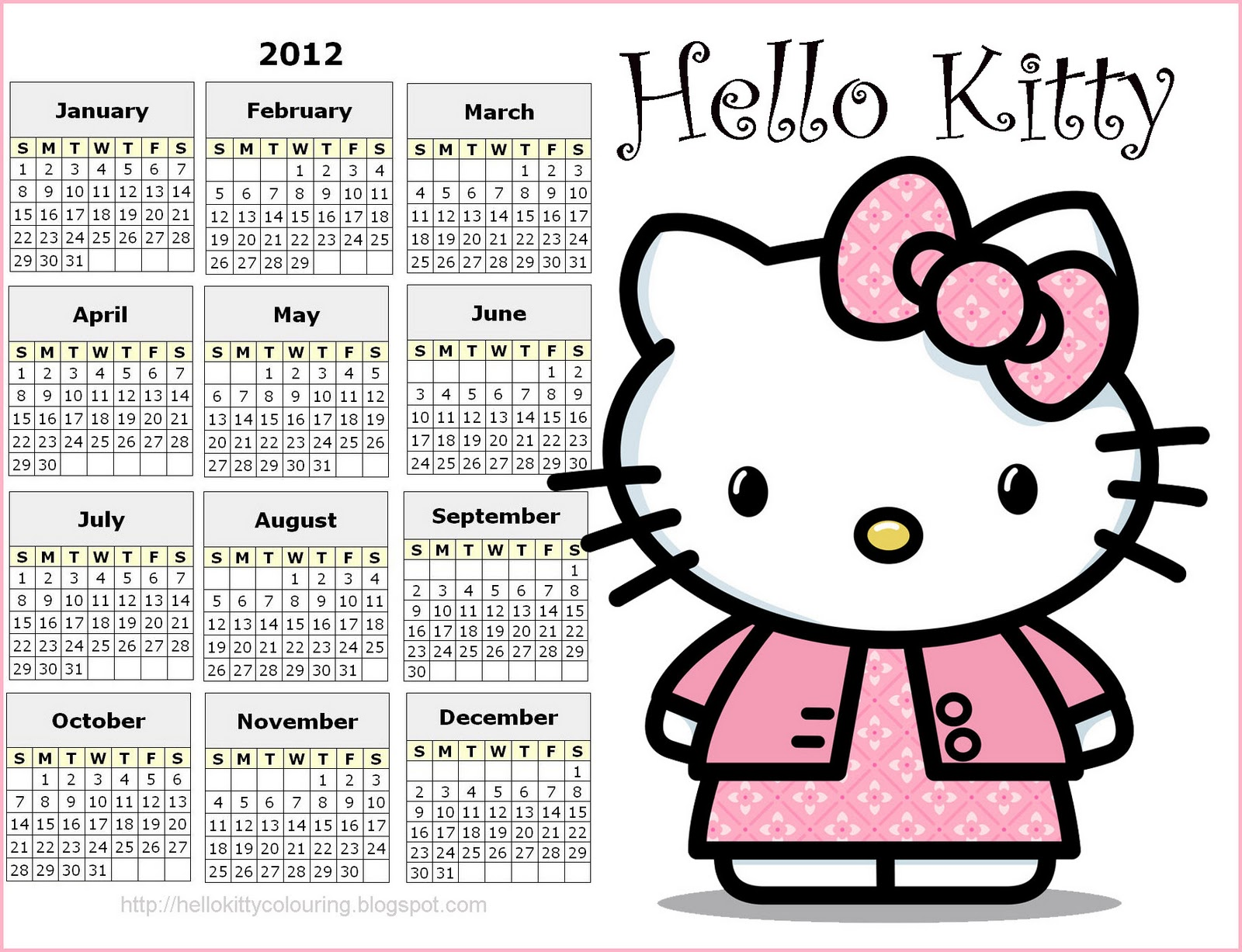 Hello Kitty 2012 calendar - here it is for you and it is free - just ...