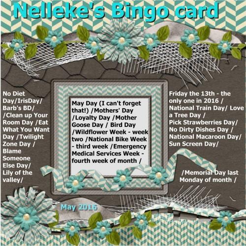 May 2016 - Nelleke's Bingo card.