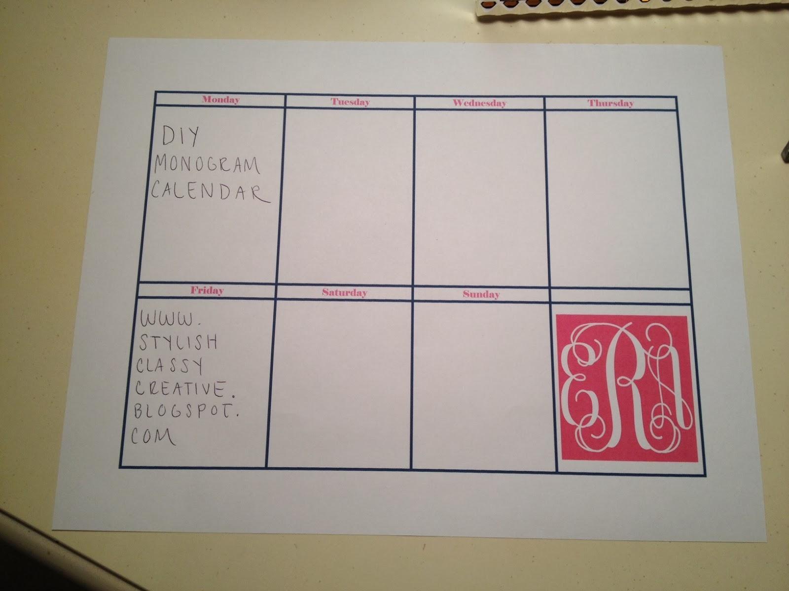 Diy Calendar On Word : Stylish classy creative diy monogrammed weekly calendar