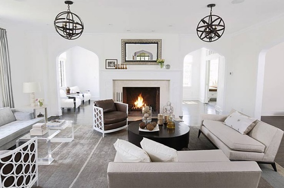 gorgeous light bright transitional style white living room orb chandelier