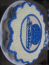 Pastel de cupcakes redondo con oblea