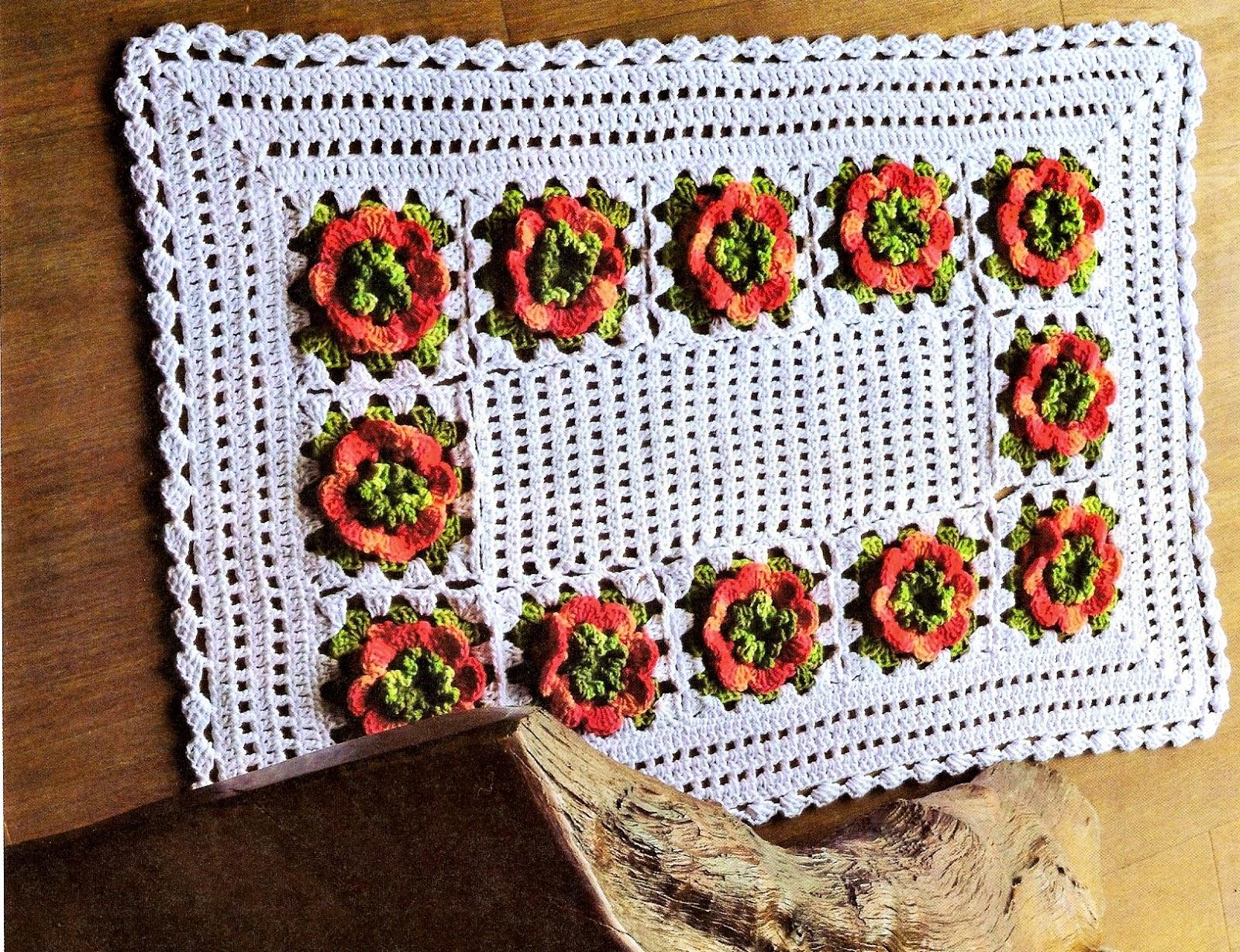 Croche com receita tapete em croch square floral for Tapete floral