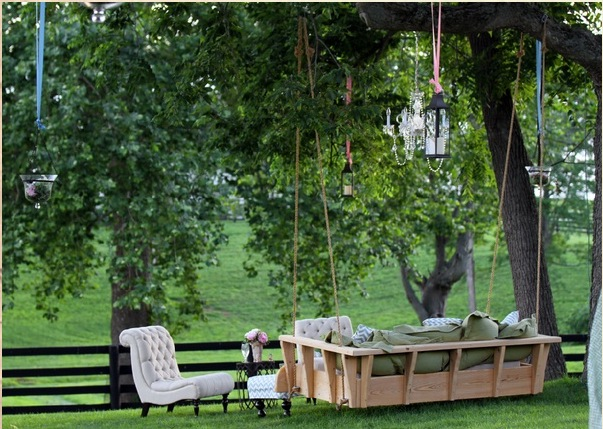 Inspiration archive diy hanging daybed for lazy afternoons for How to build a hanging bed