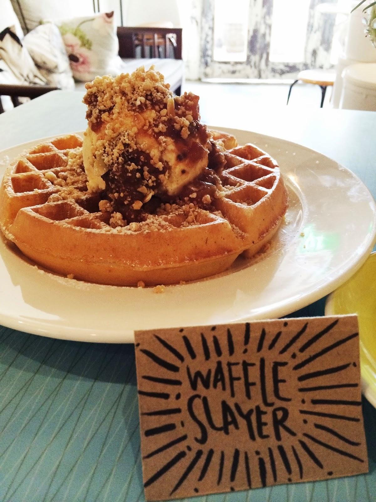 Apple & Almond Crumble Buttermilk Waffle with Vanilla Ice-Cream