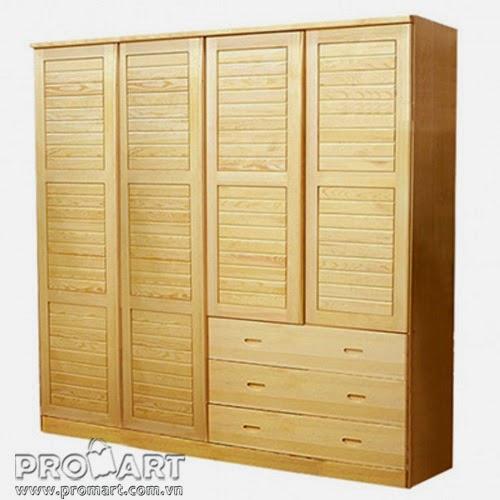Tủ quần áo gỗ tự nhiên 4 cánh 3 ngăn WR418A, hàng cao cấp tiêu chuẩn xuất khẩu