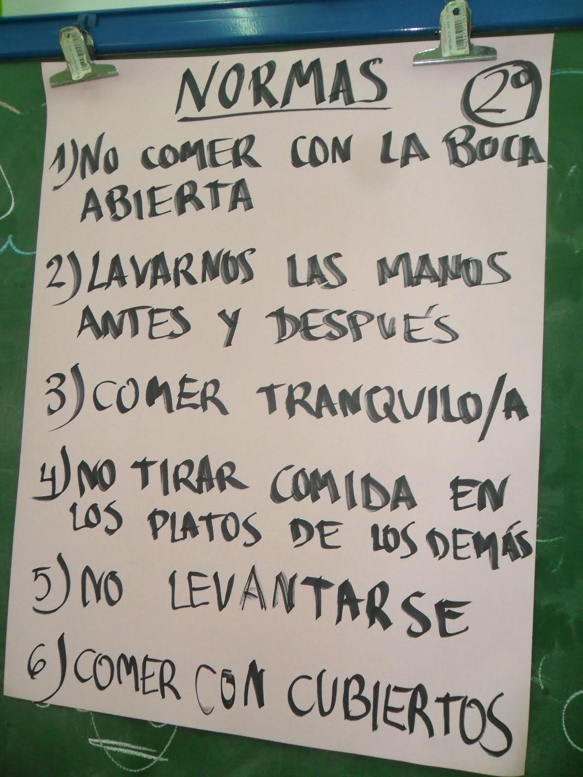 NORMAS PARA EL COMEDOR