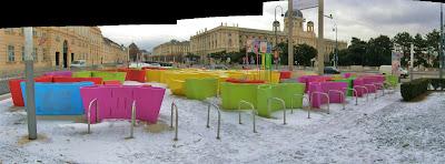 Bécs, Wien, biciklitároló, kerékpártároló, bringatároló, Bécs, Wien, Museumsplatz, Vienna, Fahrradständer, fahrrad, bike, art, kunst, bike-Laokoon,