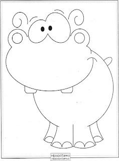 Desenho de Hipopótamo para pintar