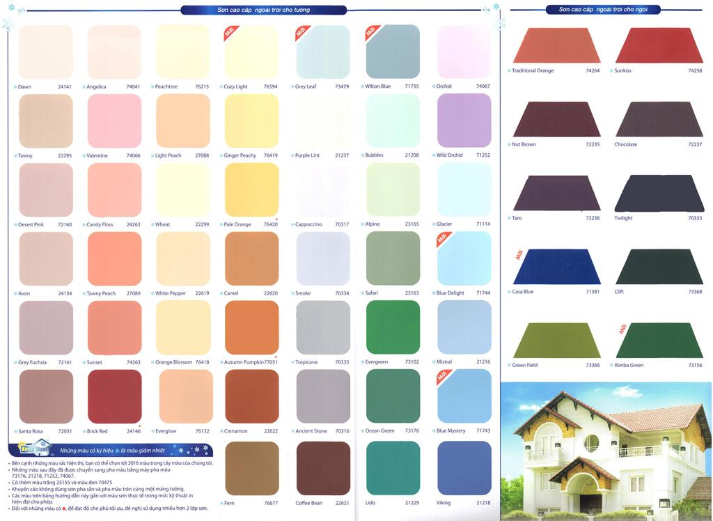 Kết quả hình ảnh cho bảng mã mầu sơn dulux