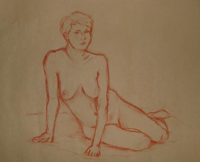 Zeichnung in Rötel: Aktpose Frau, sitzend