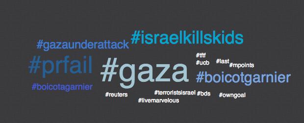 #gaza,  #prfail,  #israelkillskids,  #boicotgarnier,  #gazaunderattack,  #boicotagarnier,  #ucb, #reuters,  #mpoints,  #livemarvelous,  #last, #owngoal, #bds,  #tftf,  #terroristsisrael