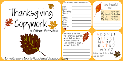 FREE Thanksgiving Copywork