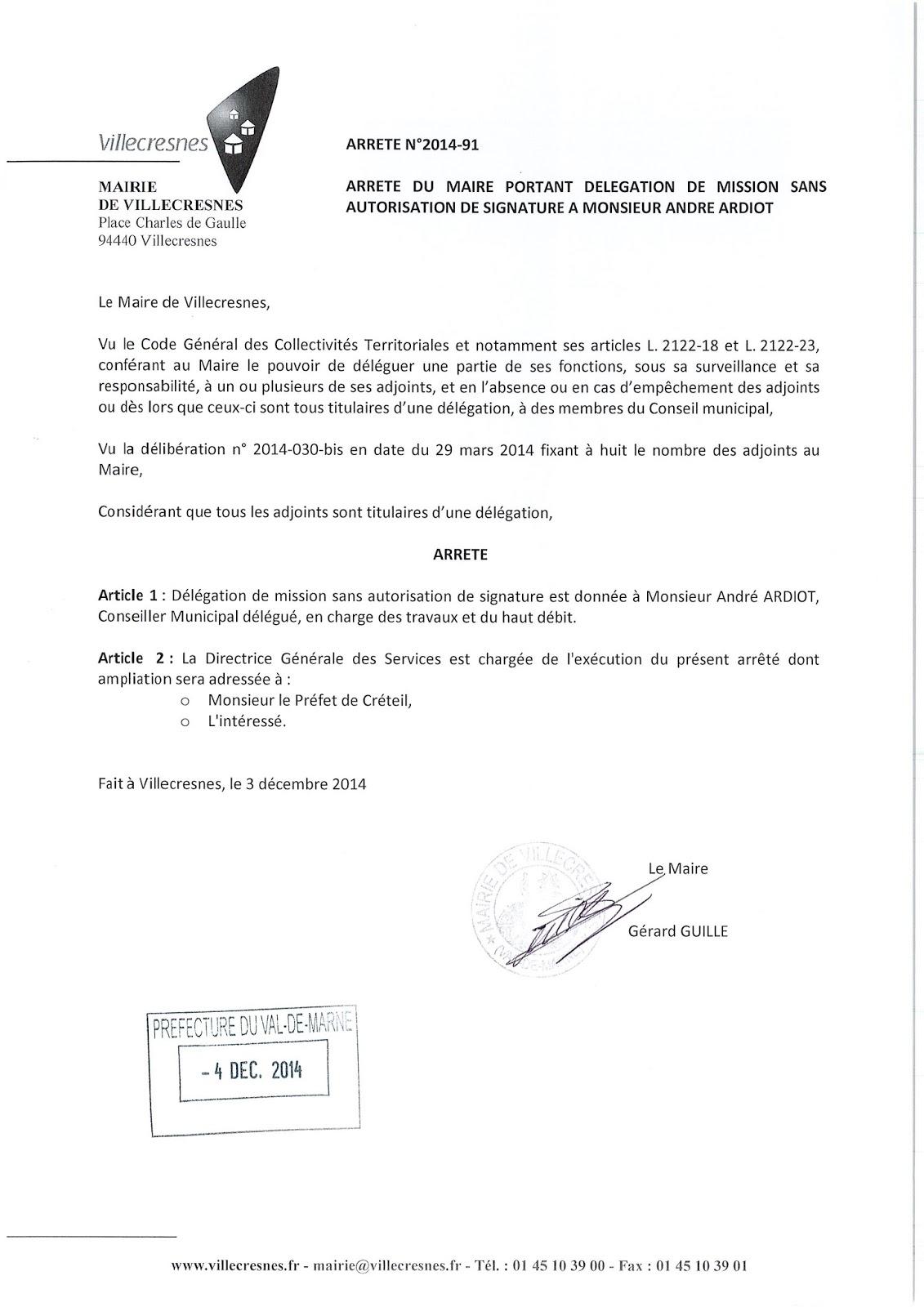 2014-091 Délégation de fonction mission sans autorisation de signature à Monsieur André Ardiot