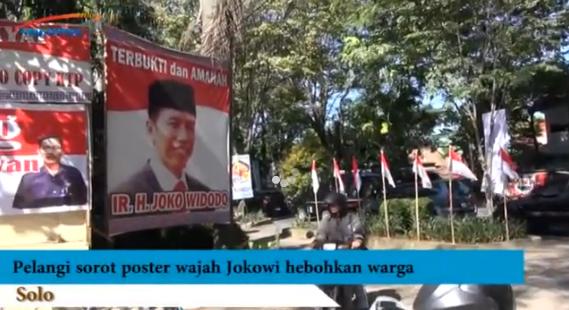 Fenomena Alam Muncul Pelangi di Poster Wajah Jokowi
