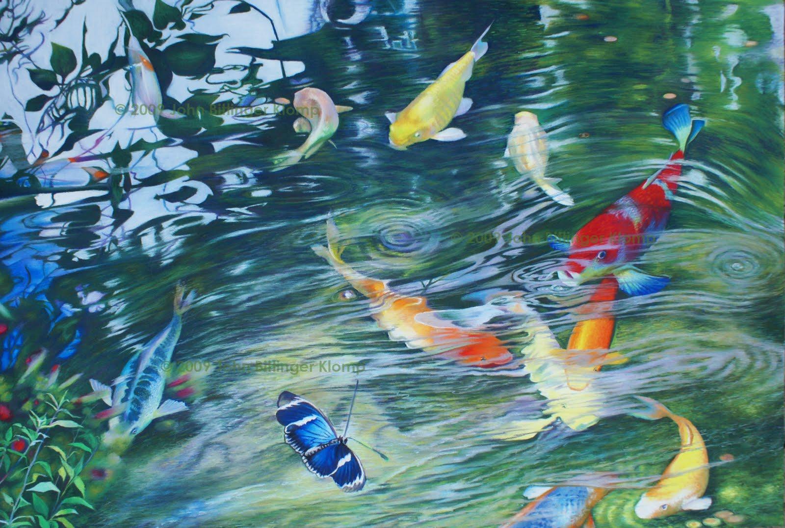 The art of john bittinger klomp koi pond 2 for Koi fish pond art