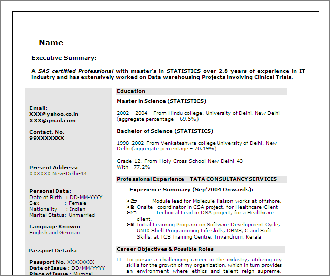 sas resume sample
