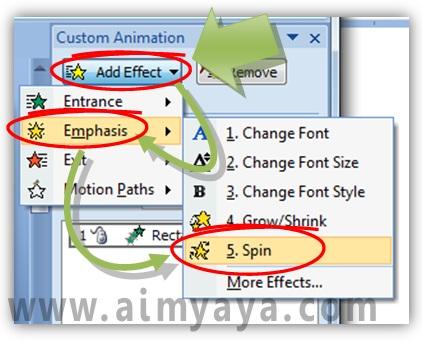 Gambar:  Cara menambahkan animasi putaran (spin) di powerpoint