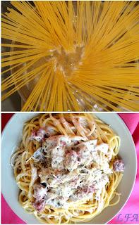 Spaguettis a la crema de champiñones y salchichas