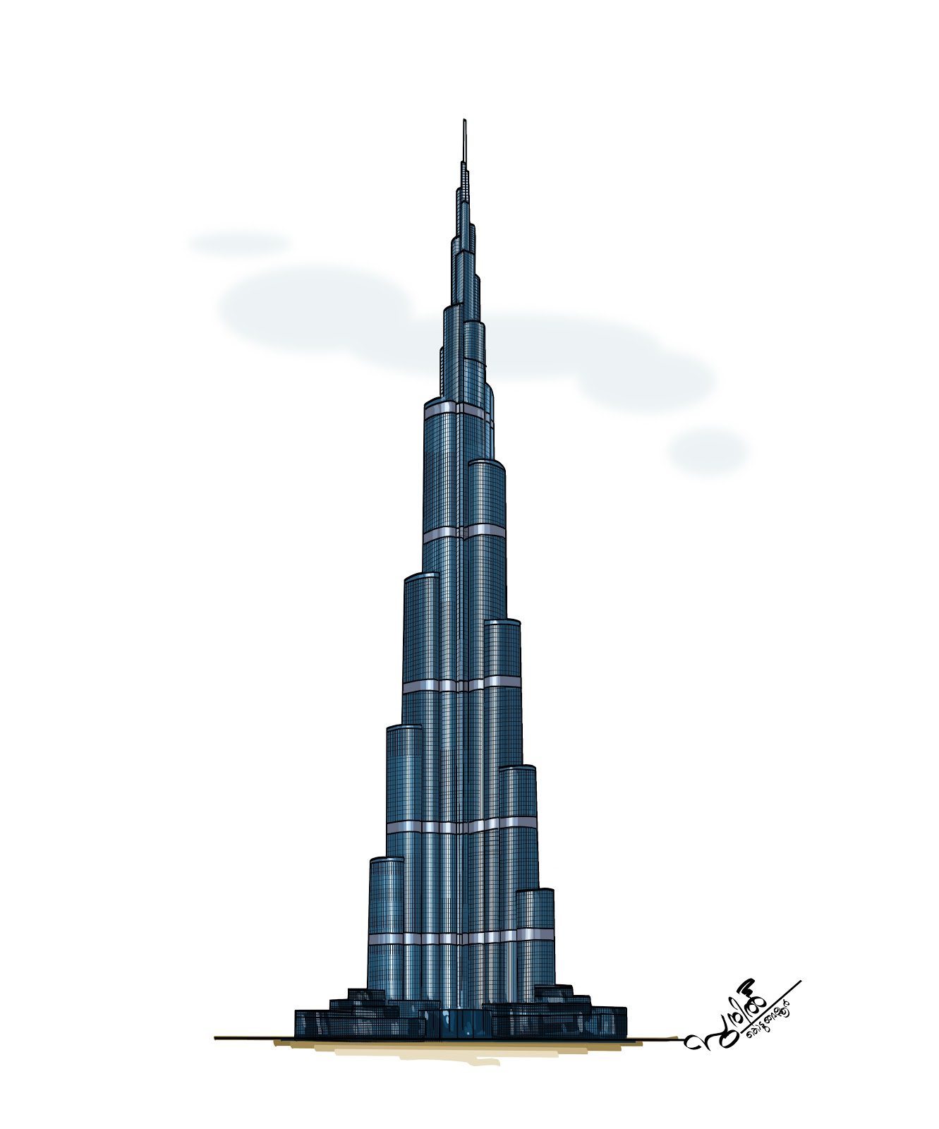 How to draw burj khalifa for Burj khalifa sketch
