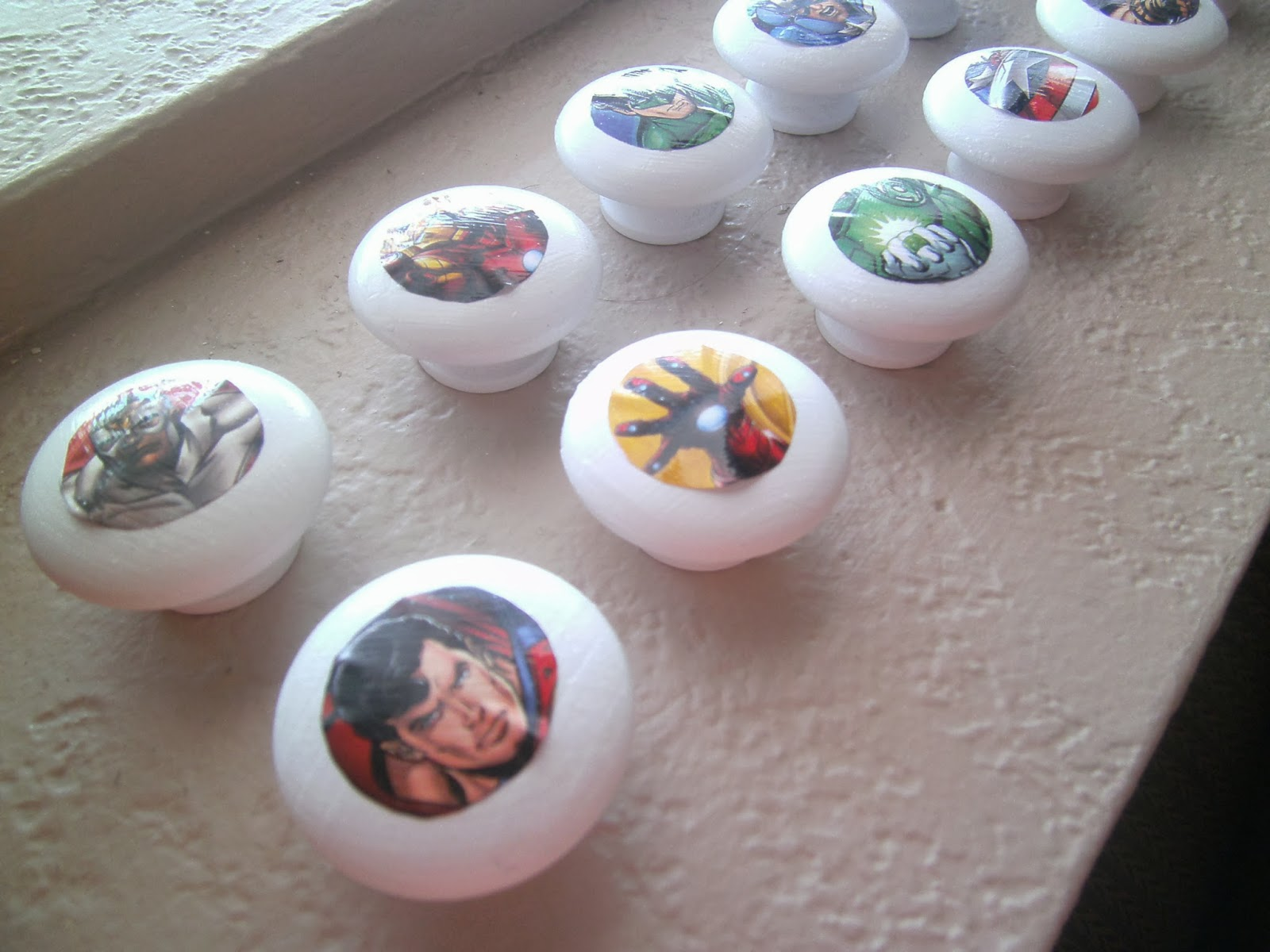Diy Cabinet Knobs Robbygurls Creations Diy Drawer Knobssuperhero Version