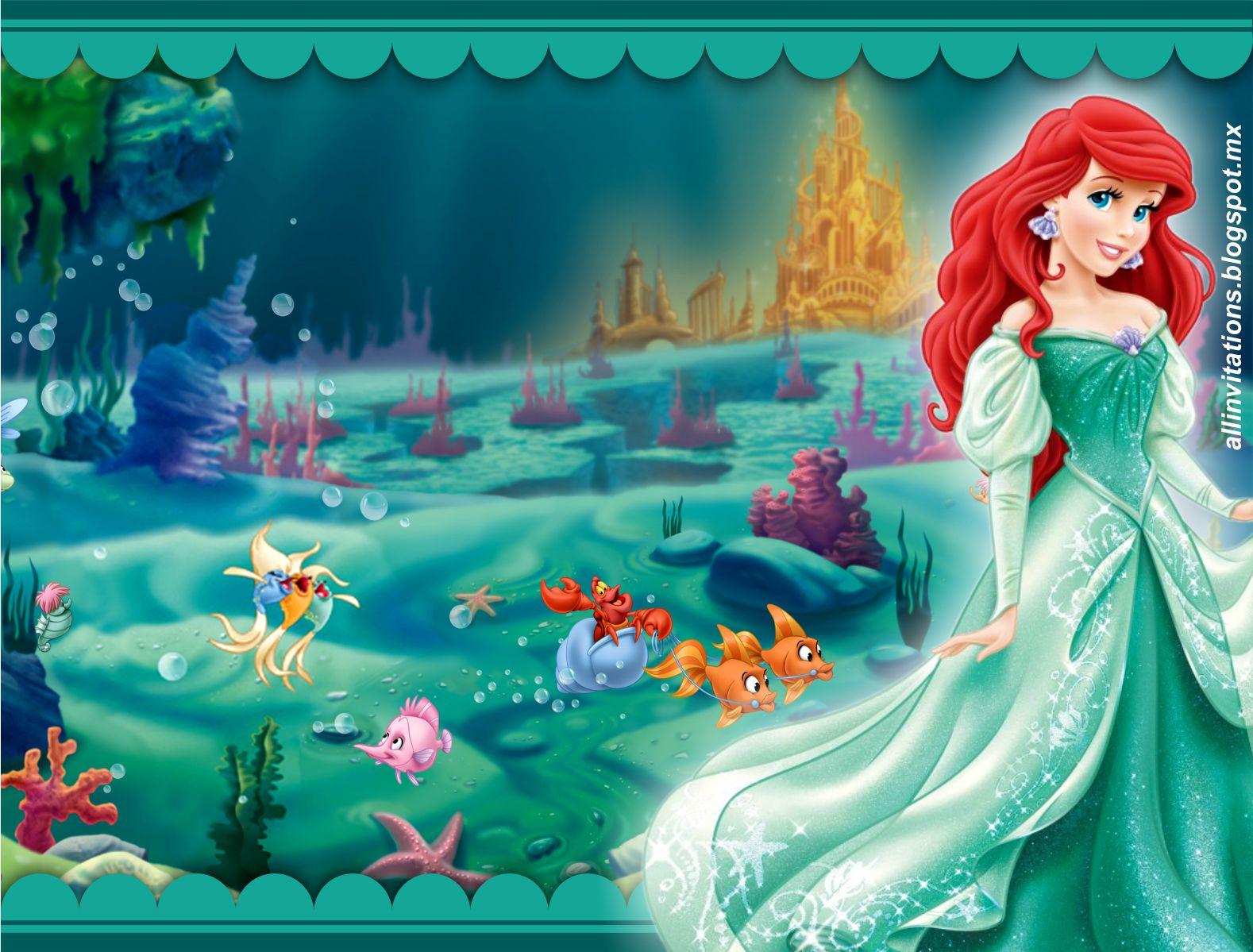 Princesa Ariel con vestido verde | All Invitations