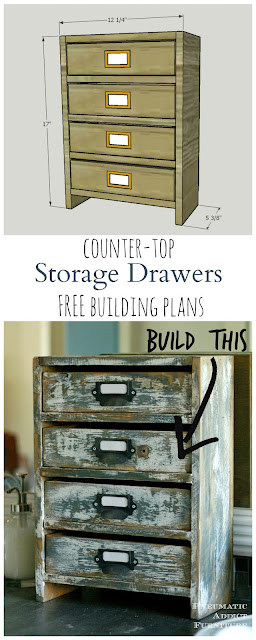 Build your own set of small, rustic drawers to store bathroom supplies or almost anything.