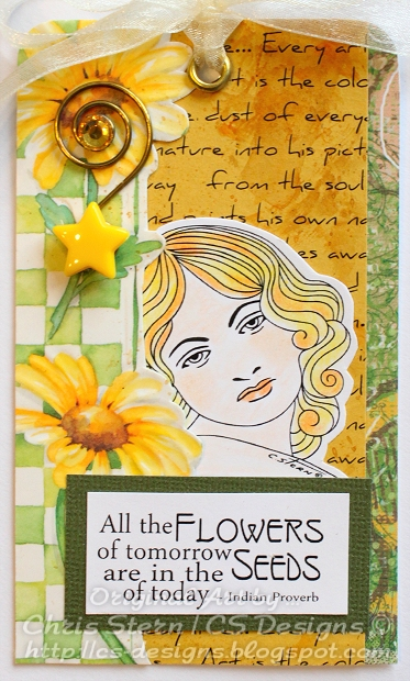 Yellow and Green Spring Flower Art Tag