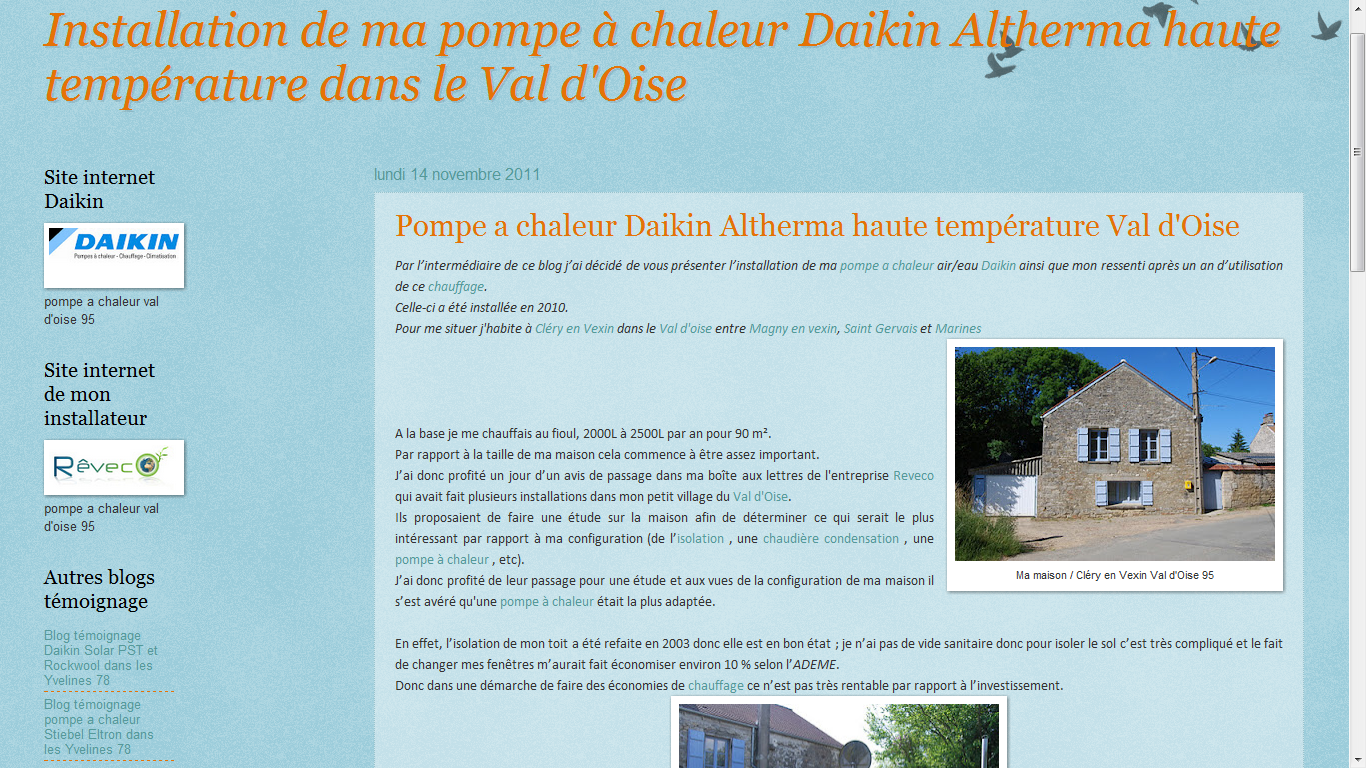 les blogs client reveco pompe chaleur daikin. Black Bedroom Furniture Sets. Home Design Ideas