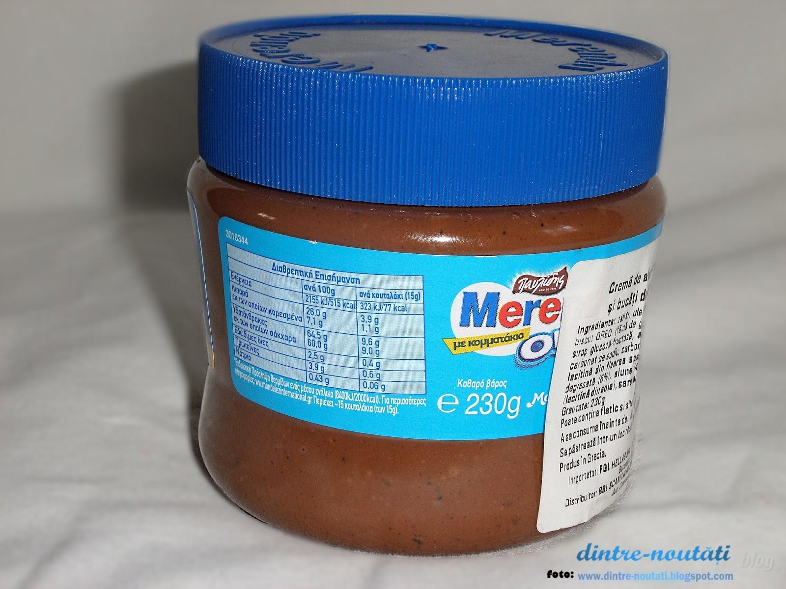Cremă pastă de alune cu cacao, lapte degresat și bucăți de biscuit OREO (7,5%)