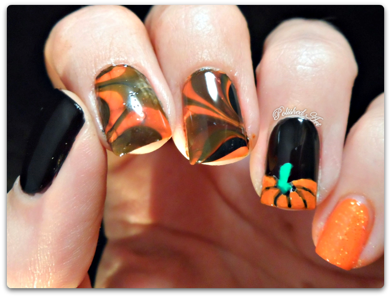 halloween-nail-art-orange-black-watermarble-pumpkin-barry-m-w7-max-factor