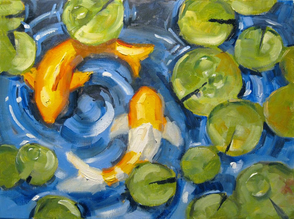 Daily painters of california koi fish yin yang water for How to paint a fish