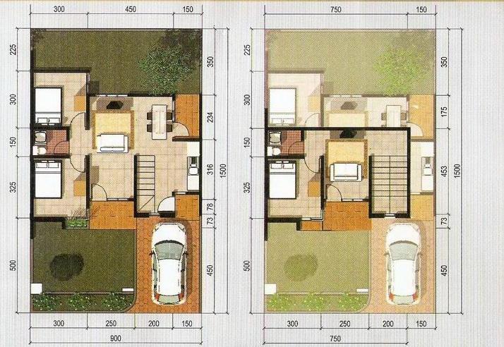 rumahku 1 gambar denah rumah type 96 135