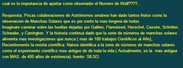 Manchas Solares :Numero de Wolf.