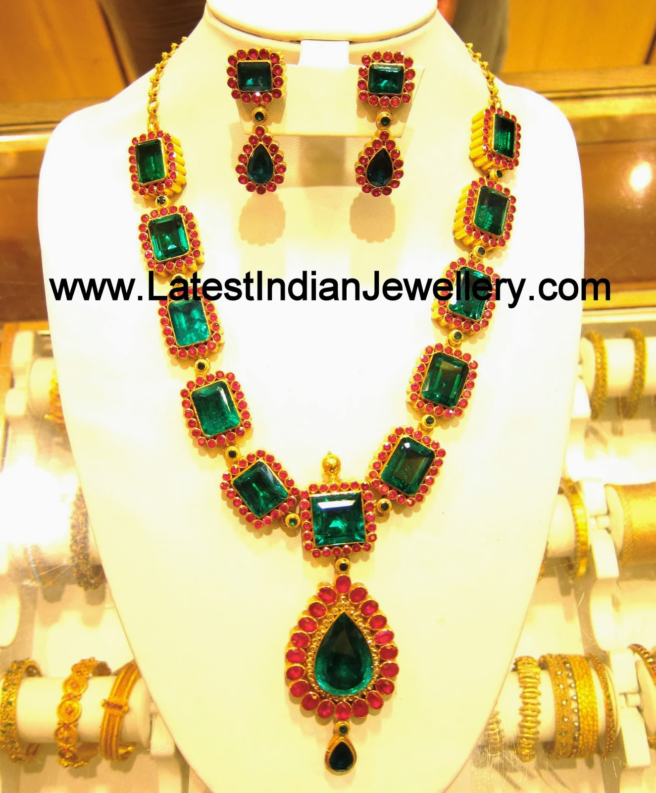 Solitaire Emerald Ruby Necklace