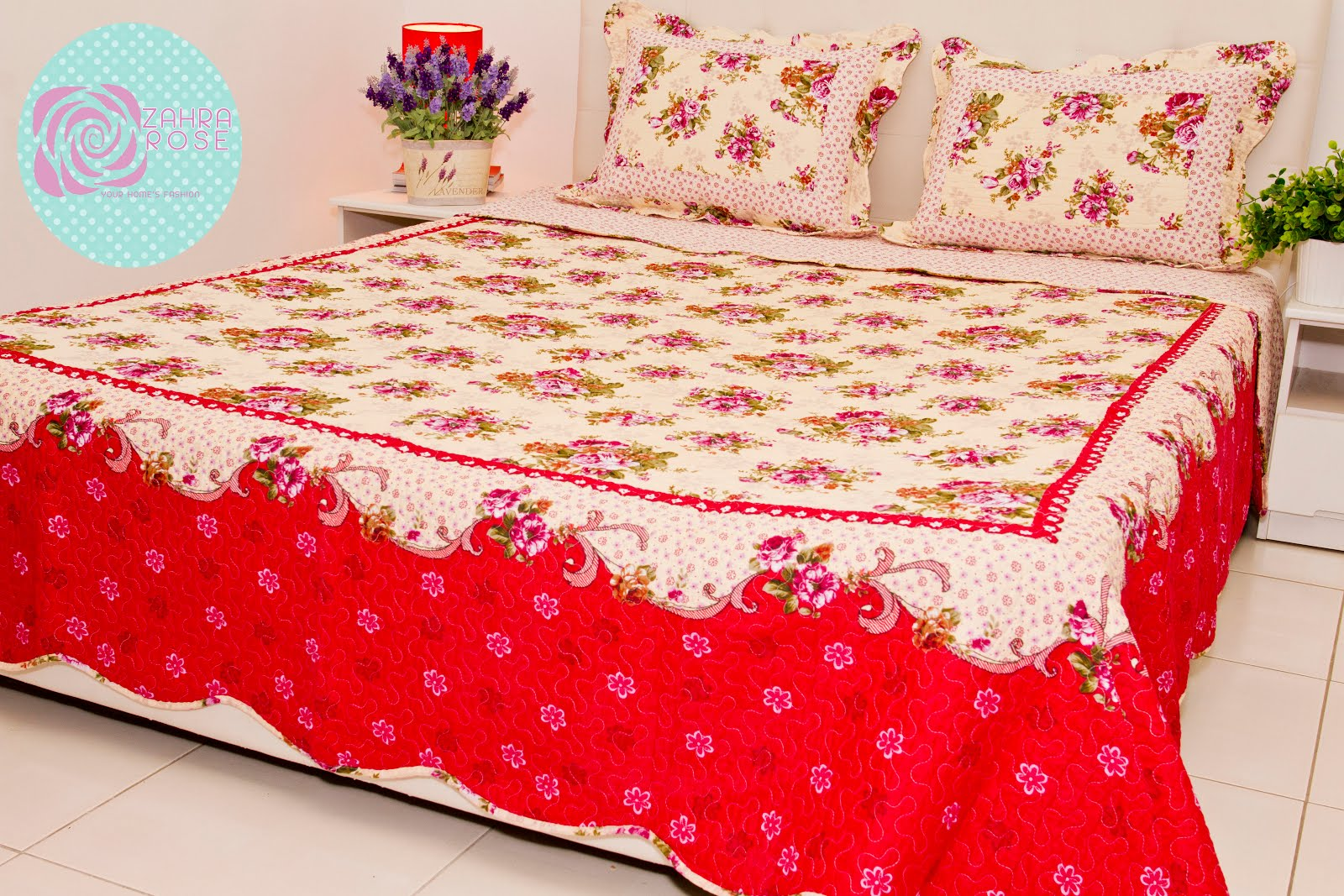 Zahra rose design cotton patchwork bed sheet