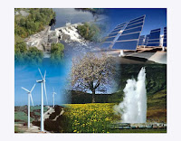 Conjunto de fotos de energías renovables, limpias o alternativas.
