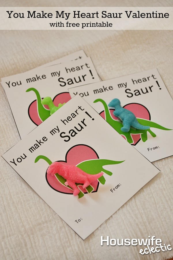 Housewife Eclectic: You Make My Heart Saur Valentine with Free Printable
