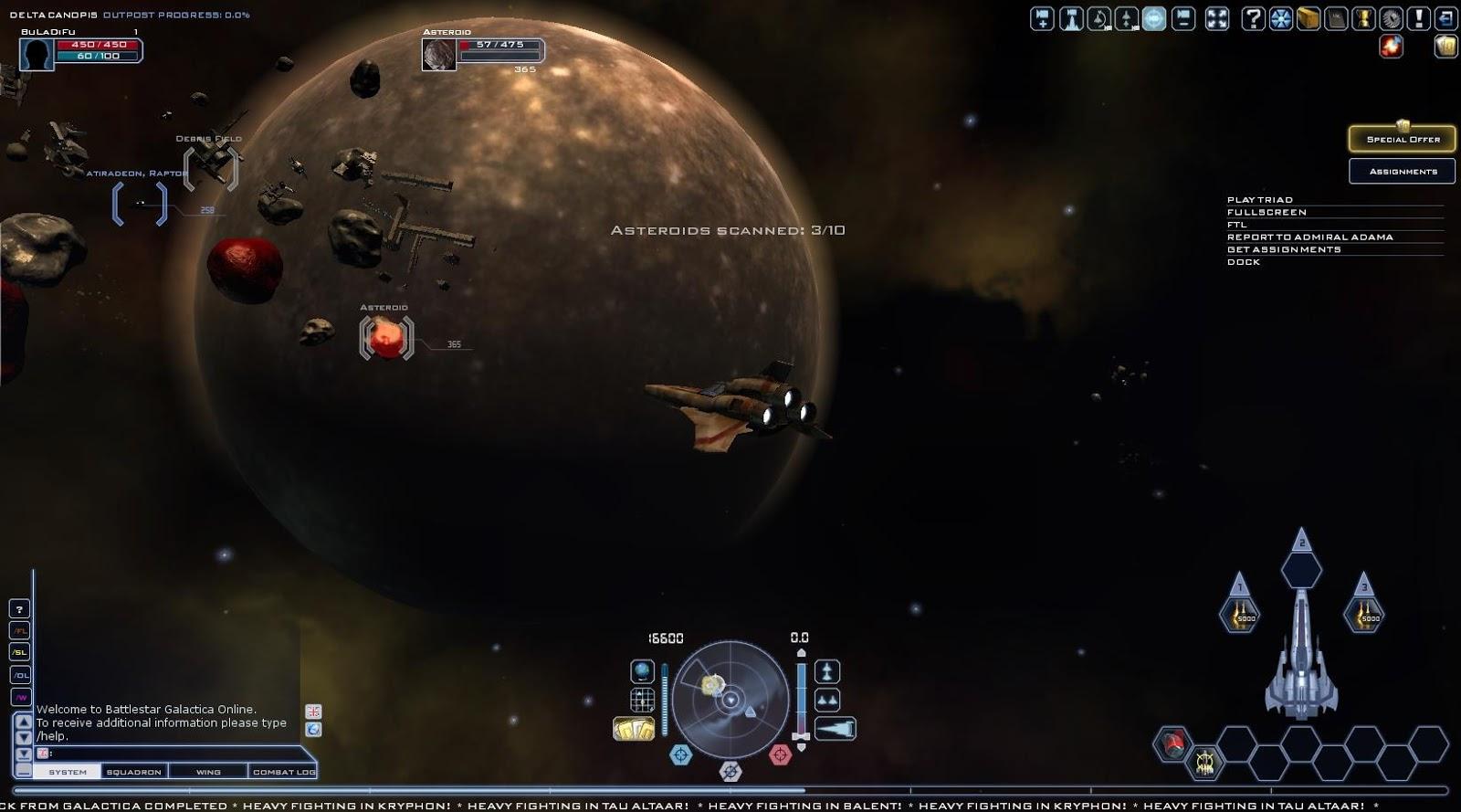 Battlestar Galactica Online - Mining Asteroids