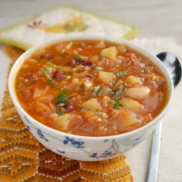Rich, hearty and loaded with veggies makes this spicy Mexican Bean and Tomato Soup one of the best comfort foods on a cold day