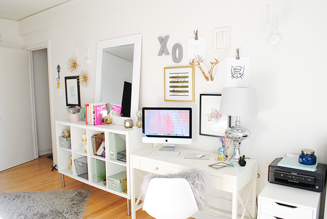 Apartment tour office space lauren loves for 1 bedroom apartment office ideas