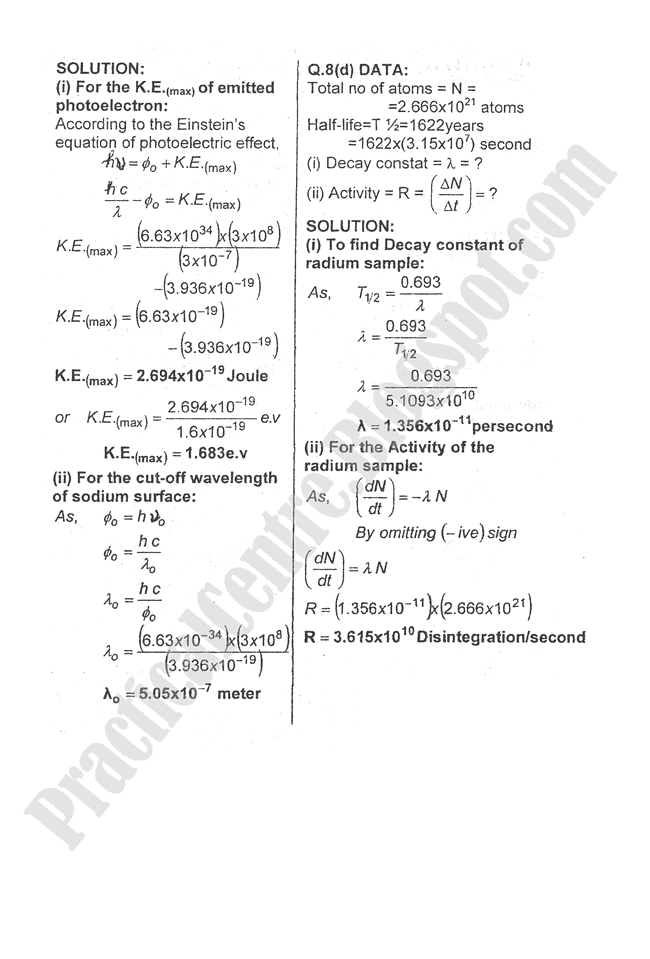 Physics-Numericals-Solve-2009-five-year-paper-class-XII